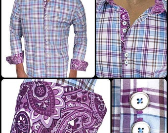 Purple Plaid Men's Designer Dress Shirt - Made To Order in USA