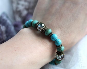 Turquoise Bracelet, Turquoise Jewelry,Protection Bracelet, Throat Chakra, Reiki Bracelet, Meditation Bracelet, Yoga Bracelet, Vegan Bracelet