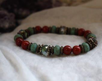 Red Jasper, Protection Bracelet, Meditation Bracelet, Reiki Bracelet, Yoga Bracelet, Gemstone Bracelet, Boho Bracelet, Vegan Bracelet