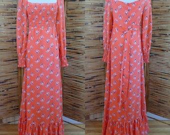 Vintage 1960s/1970s I. Magnin Fruit Novelty Print Maxi Dress - Extra Small