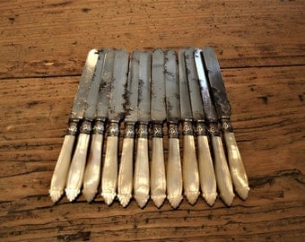 Victorian, Silver Plated Knives with More of Pearl Handles