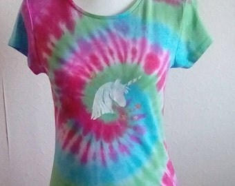 Plus Size Available, Hippy Tshirt, Unicorn T-shirt, Tie Dye Shirt,Festival T-shirt, Rainbow Clothing, Unicorn Gift, Gifts for Her