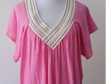Gauze dress, pink dress, pink sun dress, gauze caftan, summer dress, pink catfan, gauze sun dress, macrame dress, crochet dress