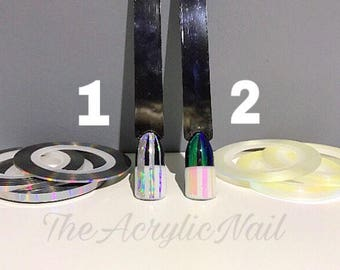 Nail Art Holographic Iridescent Rainbow Striping Tape 1mm 2mm 3mm Set of 3 Nail Art Accessories Japanese Nail Art Deco