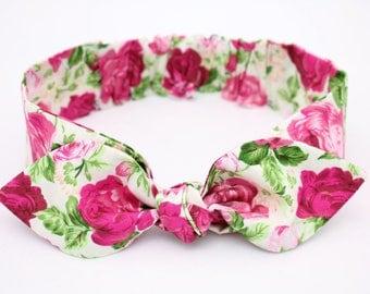 "Vintage Rose, baby girl headband, pink roses headband, green baby headband, baby, bow headband, ""Madison"""