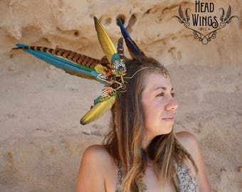 Colourful feather headdress tiara HEADWING with brass wire and intricate detailed swirls on the front with blue and yellow macaw, pheasant