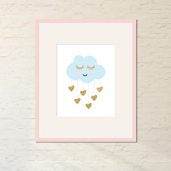 sleepy eyes rain cloud hearts girls nursery art kids room decor digital art baby shower. Black Bedroom Furniture Sets. Home Design Ideas