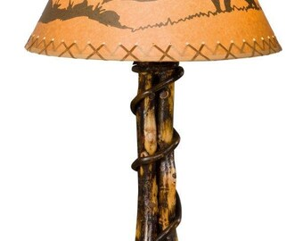 rustic hickory twisted log table lamp with deer lamp shade amish made in the usa