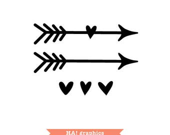 Wedding silhouette etsy arrows with hearts boho tribal ethnic love wedding silhouette cameo junglespirit Choice Image