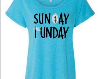 Ladies Carolina Panthers Shirt, Sunday Funday Football Shirt, Panthers Football Flowy Shirt, Game Day Shirt