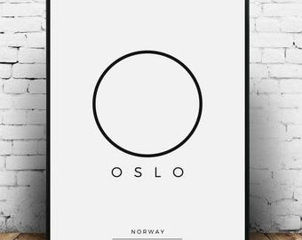 Oslo Print, Oslo Poster, Oslo Printable, Oslo Coordinates, Oslo Art, Oslo gift, Oslo wall art, Oslo art print, Oslo decor, Oslo Norway print