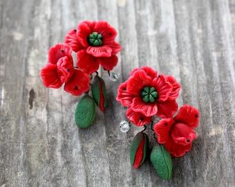 Dangle earrings - red poppy earrings - drop earrings - perfect earrings - gift for her - handmade polymer clay Jewelrylimanska