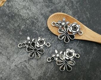 1 pc, connector flowers vintage antique brass silver, 28 x 22 mm