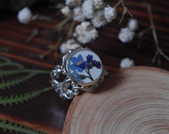 Resin ring resin jewelry flower jewelry Forget-me-not blue flower wedding ring pressed flower gift for christmas wedding jewelry
