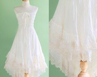 Boho Summer Strapless Dress, Beach Wedding Dress, Smocked Asymmetrical Gypsy Bridesmaid Dress, Short Cocktail Dress, off - White