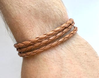 Mens Layer Bracelet, Men Braided Bracelet, Mens Layering Bracelet, Mens Layered Bracelet, Mens Leather Bracelet, Mens Brown Bracelet