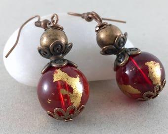 Red Gold Glass Copper Earrings Boho Bohemian Earrings Jewelry Dangle Copper Earrings Ethnic Hippie Earrings Dangle Gift Ideas Gift For Her