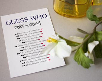 Printable wedding game ''guess who'', reception game about the bride and groom, wedding game, printable guess who game, newlywed game