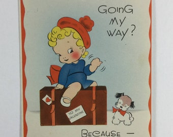 Going My Way Traveling Little Girl & Puppy Dog Vintage 1950s Carrington Valentine Greeting Card