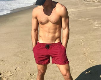 "Men's Board Shorts Swim Trunks FLDKRFT ""Flagship"" Swimwear In Maroon (With Liner) Swim Short Board Shorts Above The Knee Shorts Surf Clothes"