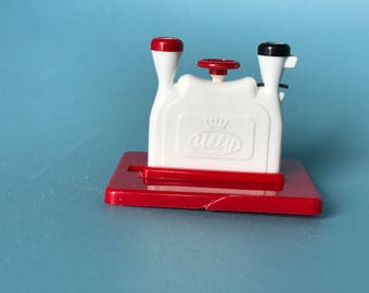Vintage Ully Needle Threader; Marked Western Germany; Red and White Plastic Needle Threader