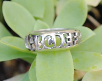 Silver ring alphabet, vintage sterling silver ring, alphabet ring, vintage silver rings, alphabets rings, vintage jewelry, vintage rings
