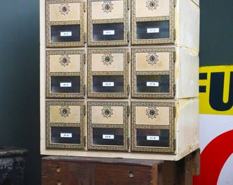 Vintage US Mail Box Post Office 12 Brass And Glass Door Mailbox Boxes  Cubbies Old Wood