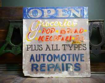 Vintage 60's 70's Grocery Store Wood Trade Sign Large Soda Pop Ice Cream Bread Open Automotive Repair Shop Display Wooden Kitchen Decor Old