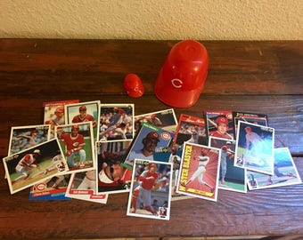 Vintage Cincinnati Reds Mini-Helmets and 20 Cards/2 Different Size Mini-Helmets and Cards from the 80's-90's/Instant Collection!/Great Gift!