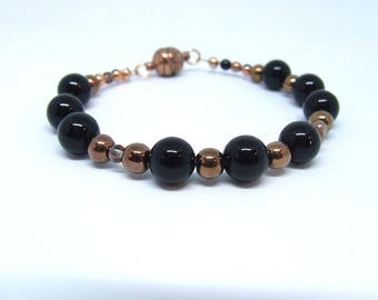 Bracelet, agate beads black and glass beads bronze, gifts for women