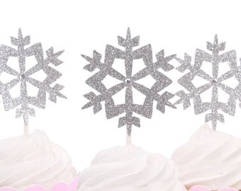 Snowflake Cup Cake Topper -Silver Glitter -Little Snowflake Cupcake Topper-Baby Its Cold Out Side Cupcake Topper-Customize your colors!