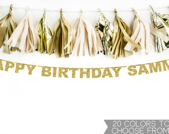 Personalized Name Happy Birthday Banner, Happy Birthday Banner, Gold Glitter Banner, Custom Happy Birthday Banner