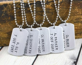 Personalized Groomsmen Necklace - Personalized Necklace for Men - Custom Dog Tag Necklace for Men - Groomsmen Gift - Bridal Party Gifts