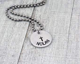 Personalized Cross Necklace for Boys - Boys Baptism Necklace  - Confirmation Gift for Boys - First Communion Gift - Baptism Gift for Him