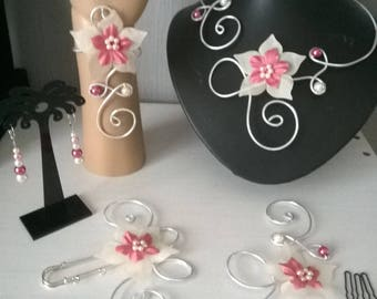 set 5 PCs Silver Aluminum wire powder pink and ivory silk flower, wedding, bridemaids