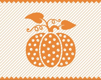 Instant Download Polka Dot Pumpkin Design - svg - dxf -cdr -eps - png - pdf - Iron on Transfer - Cricut file -Vinyl Cutting -Laser Engraving
