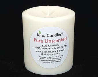 """Handmade 3-1/2"""" x 3"""" soy pillar candles with cruelty-free scents.  Your purchase supports forest restoration projects locally & globally."""