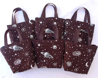 Set of 6 Outer Space Fabric Gift Bags/ Party Favor Bags/ Goody Bags- Glow in the Dark Stars and Planets