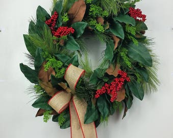 large farmhouse christmas wreath artificial holiday wreath magnolia christmas wreath rustic christmas wreath