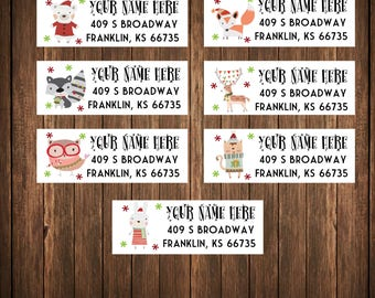 Christmas Address Labels, Holiday Address Labels, Christmas Woodland Critters