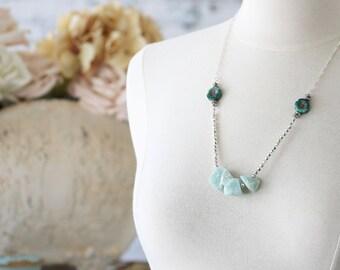 Raw Stone Boho Jewelry - Boho Modern Necklace - Raw Gemstone Necklace - Romantic Necklace for Her - Necklace for Girlfriend Birthday