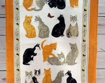 Vintage Tea Towel, Printed Irish Linen, Daisy Cats by Ulster Weavers Reg no 8339, Kitchen Towel, Wall Hanging, Multicolor, 1970s Wall Decor
