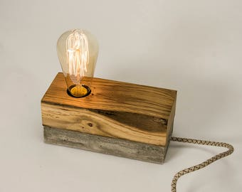Table Lamp concrete wood
