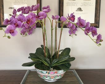 Faux Silk Violet Phalaenopsis Orchid Arrangement in Chinoiserie Bowl (Artificial)