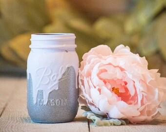Silver and Purple Drip Centerpiece Kylie Jenner Wedding Decor Party Mason Jar Rustic Farmhouse Decor Painted