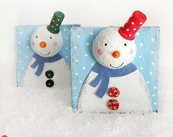 Snowman Decoration, Cute Snowman Decor, Paper Mache Snowman, Christmas Snowman, Christmas Wood Decoration, Wooden Snowman, Christmas Gift