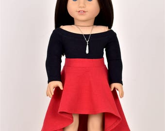 High Low Skirt  18 inch doll clothes Red