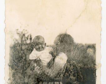 Vintage photo Beautiful Decay deteriorating image mother and child vernacular photo snapshot paper ephemera