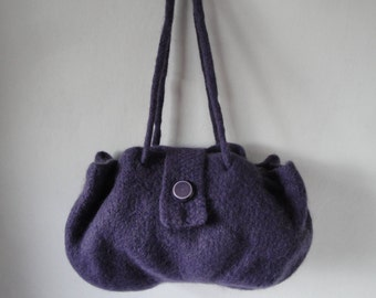 knitted felt purse, purple felt handbag, felt drawstring bag, button-tab handbag, wool felt purse, drawstring handbag, large purple purse