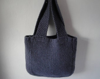 shopping bag, felt shopper, tote bag, blue felt bag, felt knit bag, blue grey handbag, felted market bag, felt shopping bag, knitted shopper